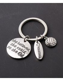 Fashion Silver Color Stainless Steel Letter Volleyball Keychain