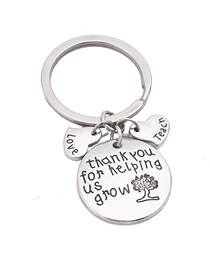 Fashion Silver Color Stainless Steel Keychain Letter Pendant