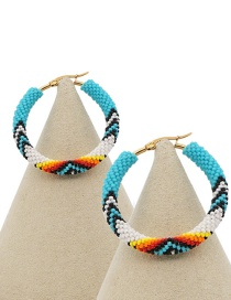 Fashion Color Rice Beads Woven Colorful Eye Hoop Earrings