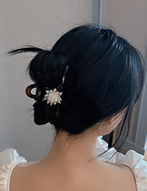 Fashion Black Evil And White Crystal Crystal Flower Clip