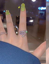 Fashion Silver Color Ring Zircon Leaf Ring