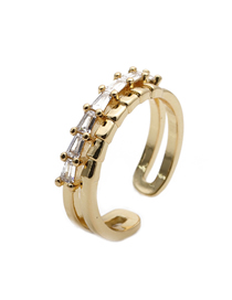 Fashion Golden Adjustable Zircon Ring With Opening
