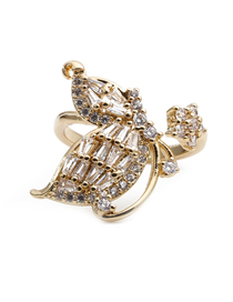 Fashion Golden Copper Inlaid Zircon Open Butterfly Ring