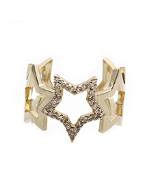 Fashion Golden Five-star Zircon K-plated Gold Ring