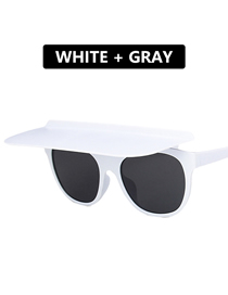 Fashion Real White And Full Gray Dual-use Flip Sunglasses