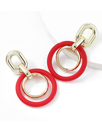 Fashion Red Multi-layer Round Resin Geometric Earrings