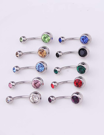 Fashion Champagne Piercing Stainless Steel Body Belly Nail Abdomen Double Drill Belly Button Nail Umbilical Ring
