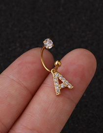 Fashion Golden A English Alphabet Zircon Stainless Steel C-shaped Earrings
