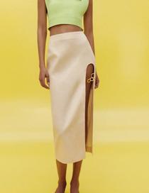 Fashion Creamy-white Open Linen Skirt