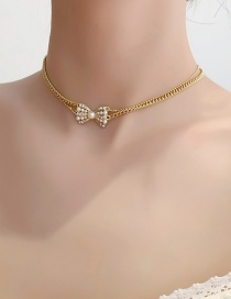 Fashion Gold Color Double Pearl Sparkle Diamond Bow Necklace