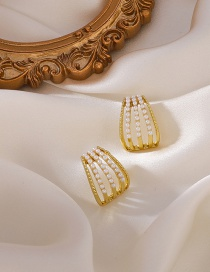 Fashion Gold Color Multi-layer Pearl Arc Stud Earrings