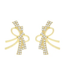 Fashion Gold Color Butterfly Combined With Gold Rhinestone Stud Earrings