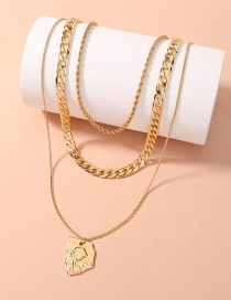 Fashion Gold Color Thick Chain Character Embossed Necklace
