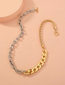 Fashion Gold Color Thick Chain Stitching Ot Buckle Necklace