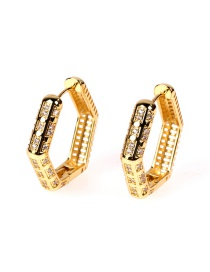 Fashion Gold Color Copper-plated Real Gold Inlaid Zircon Geometric Hexagonal Earrings