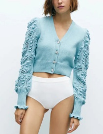 Fashion Blue Knitted Jacket With Jewel Buttons