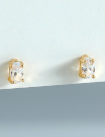 Fashion Gold Color Oval Zircon Crystal Stud Earrings