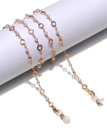 Fashion Gold Color Chain Pearl Hollow Round Glasses Chain