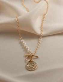Fashion Gold Color Pearl Portrait T-shaped Buckle Necklace