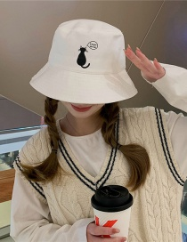 Fashion White Sunscreen Cat Fisherman Hat