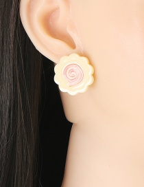 Fashion Yellow Acrylic Fingerprint Geometric Stud Earrings