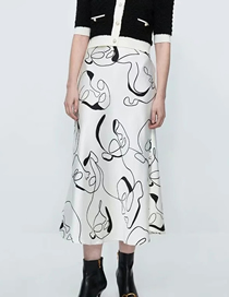 Fashion White Geometric Print Skirt
