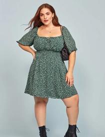 Fashion Green Floral Short Sleeve Dress