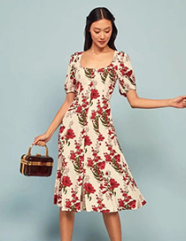 Fashion Red Floral Print Short Sleeve Dress