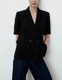 Fashion Black Double Breasted Blazer