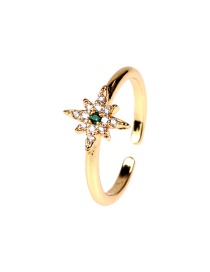 Fashion Star Copper Gold-plated Micro-inlaid Zircon Pozi-shaped Meteor Opening Ring