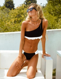 Fashion Black One-shoulder Split Swimsuit With Fungus