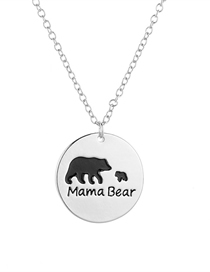 Fashion Silver Mother + 1 Little Bear Letter Mama Bear Oil Drop Animal Bear Necklace
