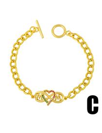 Fashion C Ot Buckle Inlaid With Colored Diamonds Love Mom Bracelet