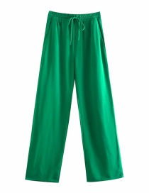 Fashion Green Drape Knotted Trousers