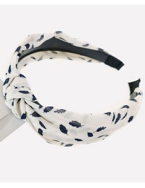 Fashion Beige Printed Leaves Knotted Hair Band In The Middle