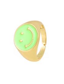 Fashion Green Copper Drip Oil Smiley Ring