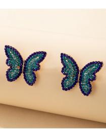 Pendientes De Botón De Mariposa Con Diamantes De Imitación Completos