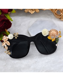 Fashion Black Bee Pearl Flower Diamond And Butterfly Sunglasses