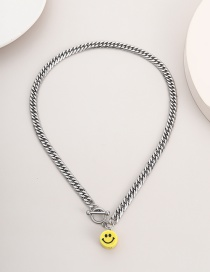 Fashion White K 03048 Stainless Steel One Word Buckle Smiley Face Chain Necklace