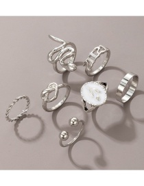 Fashion Silver Color Dripping Oil Snake-shaped Love Flowers And Plants 7-piece Ring
