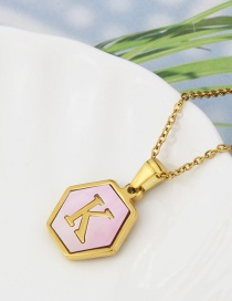 Fashion K Stainless Steel Hexagonal Pink Bottom 26 Letter Necklace