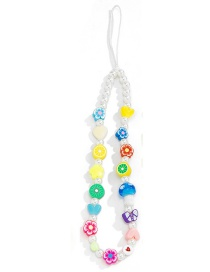 Fashion Color Soft ceramic flower beaded mobile phone chain