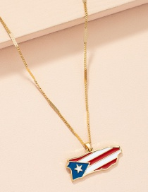 Fashion Gold Color Alloy Dripping Oil Flag Necklace