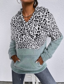 Fashion Green Leopard Print Panelled Hooded Long-sleeved Sweater