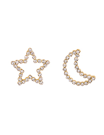 Fashion Gold Color Alloy Diamond Star And Moon Asymmetrical Stud Earrings Reviews