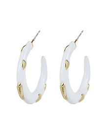 Fashion White Alloy Wave Point C-shaped Earrings