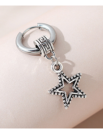 Fashion Five-pointed Star Five-pointed Star Unilateral Hollow Mens Earrings