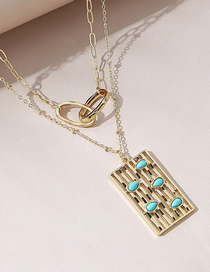 Fashion Gold Color Geometric Alloy Cross Double Layer Necklace