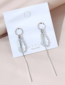Fashion Silver Real Gold Plated Geometric Long Tassel Earrings