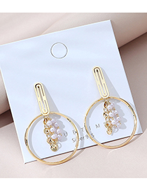 Fashion Golden Real Gold-plated Pearl Cutout Round Earrings